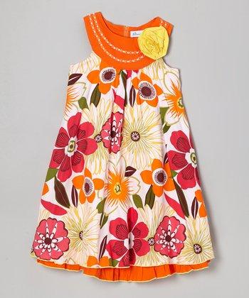 Orange & Yellow Floral Yoke Dress