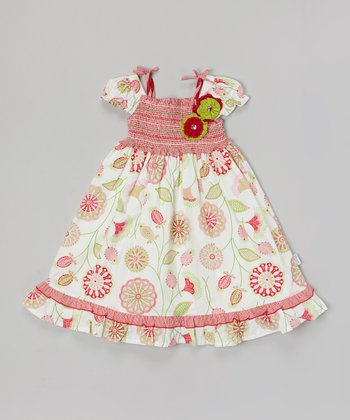 White & Pink Floral Shirred Dress
