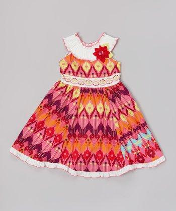 Orange & White Ikat Floral Yoke Dress