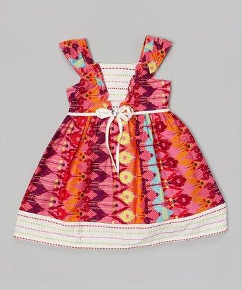 Orange & White Ikat Floral Ruffle Sleeve Dress