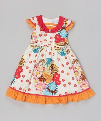 Orange & White Floral Ruffle Collar Dress