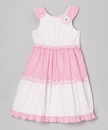 Pink & White Mini Floral Yoke Dress