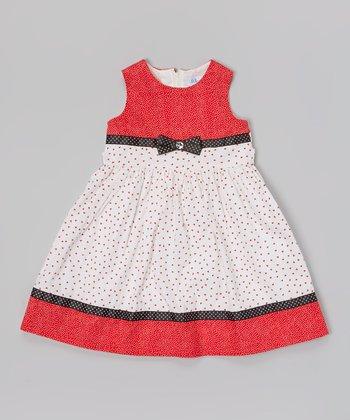 Orange & White Polka Dot Bow Floral Dress