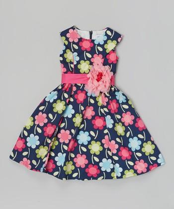 Blue & Pink Flower Daisy Dress