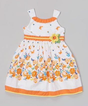 White & Orange Flower Yoke Dress