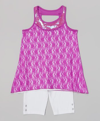 Pogo Club Neon Grape Adelle Top & Shorts - Infant, Toddler & Girls