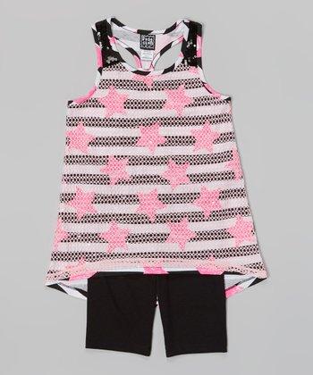 Pogo Club Neon Pink Stripe Genna Top & Black Shorts - Toddler & Girls