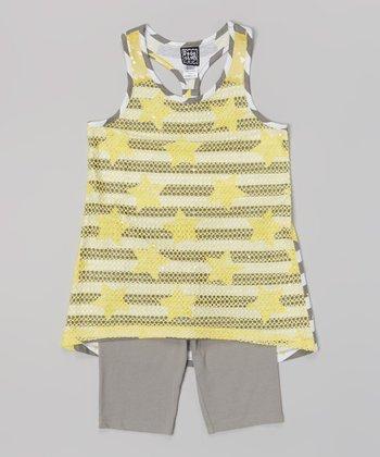 Pogo Club Medium Yellow Stripe Genna Top & Gray Shorts - Toddler & Girls