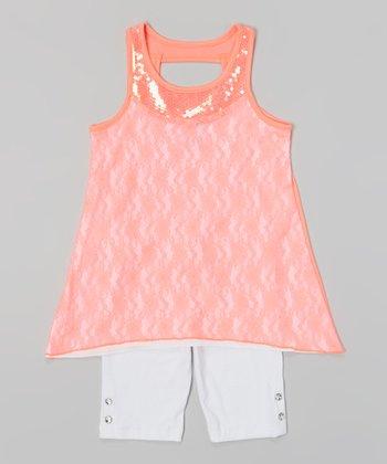 Pogo Club Neon Coral Adelle Top & White Shorts - Toddler & Girls
