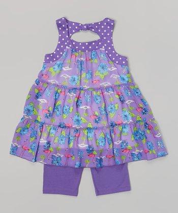 Pogo Club Dark Purple Flamingo Jessica Top & Shorts - Toddler & Girls