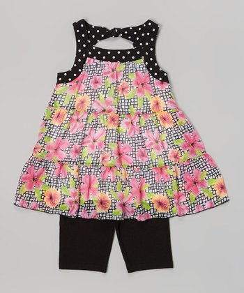 Pogo Club Black Floral Jessica Top & Shorts - Toddler & Girls