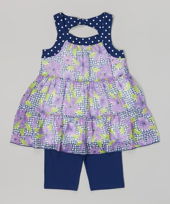 Pogo Club Navy Floral Jessica Top & Shorts - Toddler & Girls