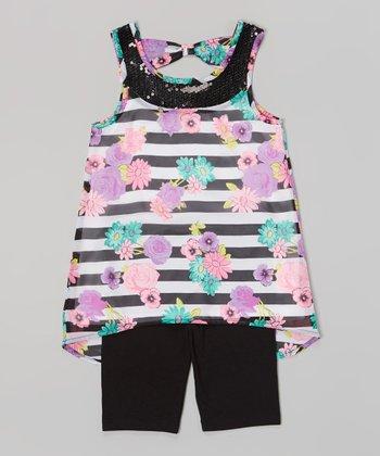 Pogo Club Black & White Stripe Floral Edna Top & Shorts - Toddler & Girls