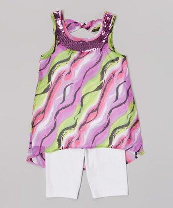 Pogo Club Dark Purple Sequin Edna Top & White Shorts - Toddler & Girls