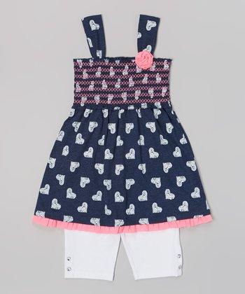 Pogo Club Neon Pink Heart Jazzie Top & White Shorts - Toddler & Girls