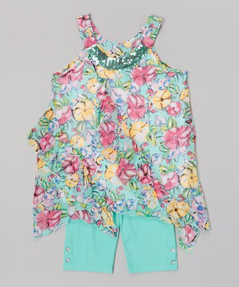 Pogo Club Mint Floral Ruffle Tillie May Top & Shorts - Girls