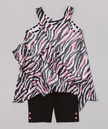 Pogo Club Neon Pink & Black Zebra Tamara May Top & Shorts - Girls