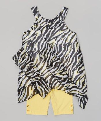 Pogo Club Medium Yellow & Black Zebra Tamara May Top & Shorts - Girls