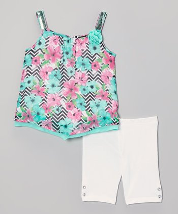 Pogo Club Mint Floral Val Top & White Shorts - Girls