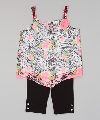 Pogo Club Neon Pink Floral Val Top & Black Shorts - Girls