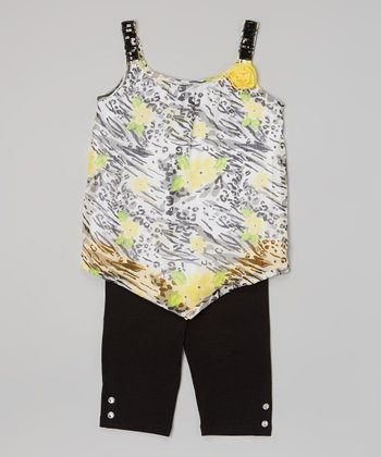 Pogo Club Medium Yellow Floral Val Top & Black Shorts - Girls