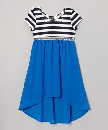 Pogo Club Royal Blue & White Stripe Millie Hi-Low Dress - Girls