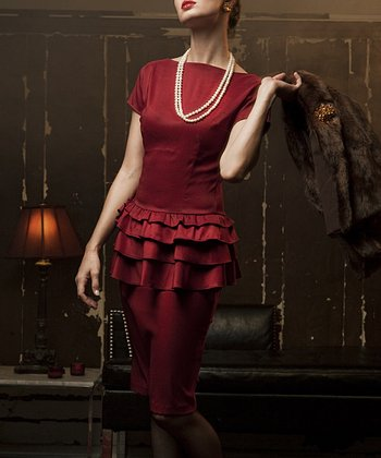 Cherry Tiered Ruffle Moon River Dress