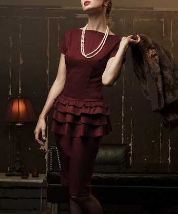 Burgundy Tiered Ruffle Moon River Dress