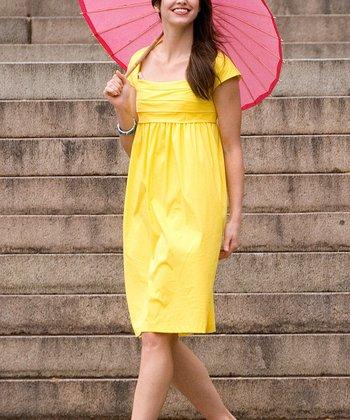 Yellow Shakespeare Garden Empire-Waist Dress