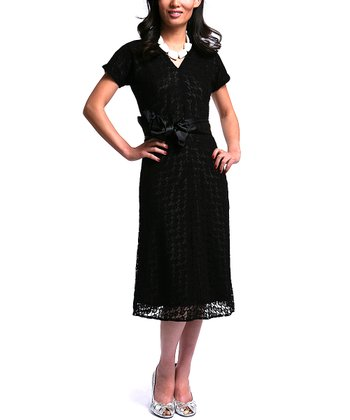 Black Lace Mesh Antiquated Dress