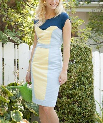 Light Blue Block Party Sheath Dress