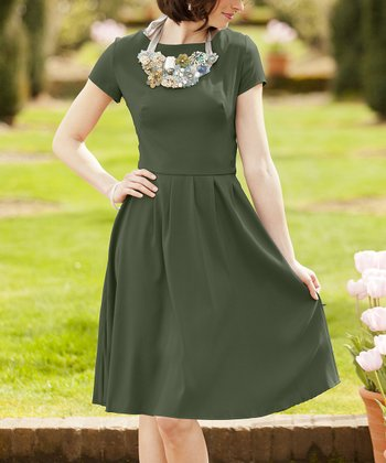 Green Truly Madly Deeply A-Line Dress