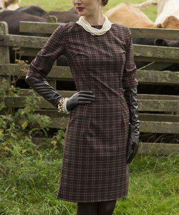 Brown Plaid Coldstream Sheath Dress