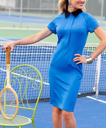 Blue & Black Collared Matchpoint Dress