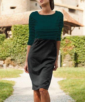 Green Stripe Guinea a Minute Sheath Dress