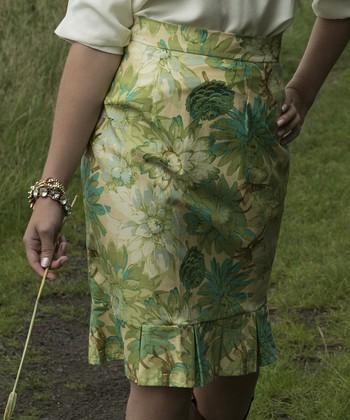 Green Floral Flair Bute Skirt