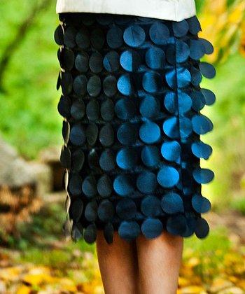 Navy Metallic Disc Curiouser Skirt