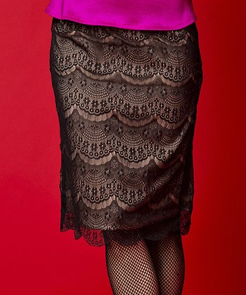Black Lace Overlay Enamored Pencil Skirt