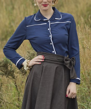 Navy & White Trim Stirling Button-Up