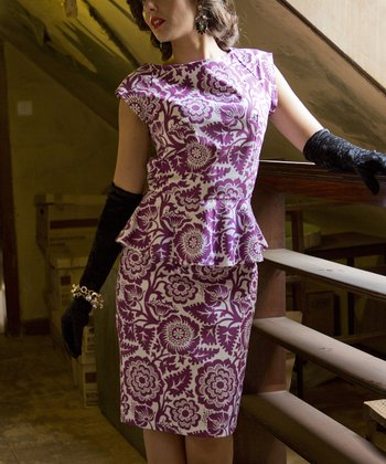 Berry Floral Firth of Forth Peplum Dress