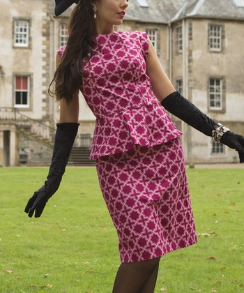 Pink Fair Isle Peplum Dress