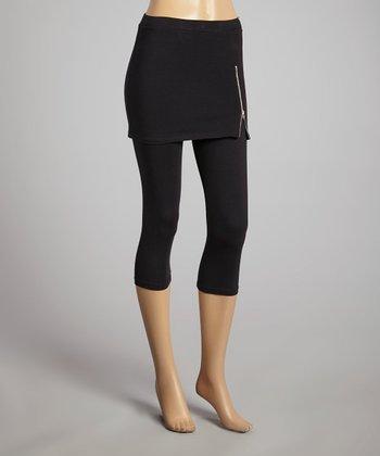 Black Zipper Skirted Leggings