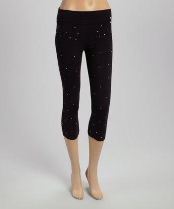 Black Rhinestone Capri Yoga Pants