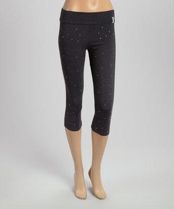 Charcoal Rhinestone Capri Yoga Pants