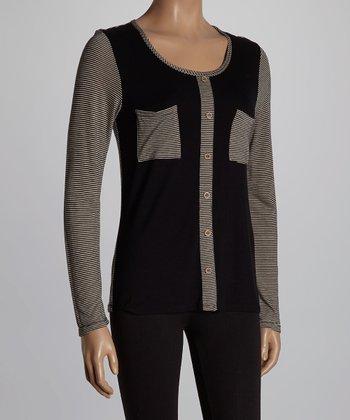 Black & Gray Color Block Button-Up Top
