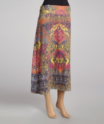 Brown & Pink Wildform Maxi Skirt