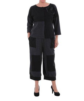 Black & Charcoal Square Cropped Pants - Plus