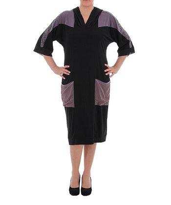 Black & Lilac Hooded Shift Dress - Plus
