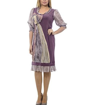 Plum & Lilac Knot Sheer-Sleeve Shift Dress - Plus
