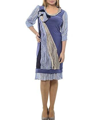 Lilac & Purple Knot Sheer-Sleeve Shift Dress - Plus